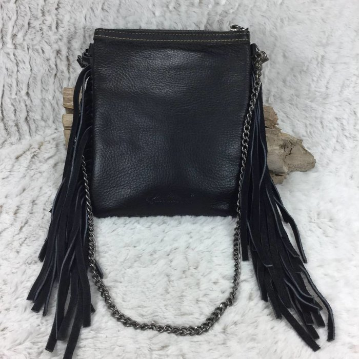 Black Fringe Cowhide & Leather Crossbody