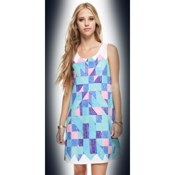 Geo Print Shift Dress Blue