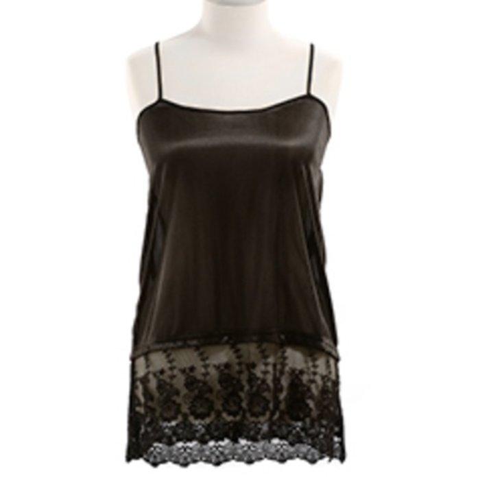 Short Lace Top Extender  -  BLACK
