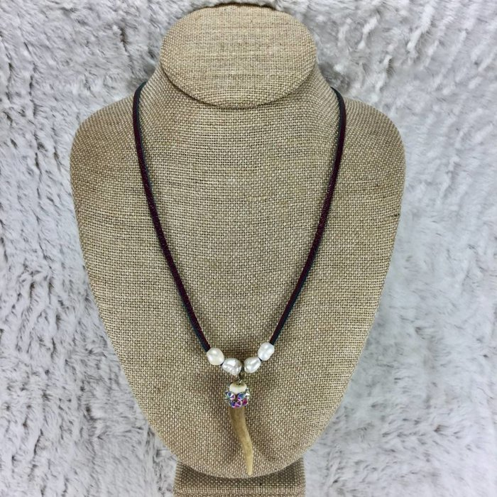 Bling AB Antler Pearl Necklace - Maroon Leather
