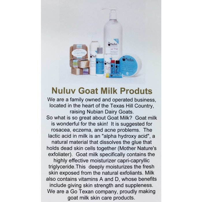 2 Oz Nuluv Herbal Mist Hand Made Goats Milk Lotion