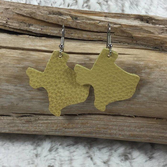 Leather Texas Earrings - Mustard