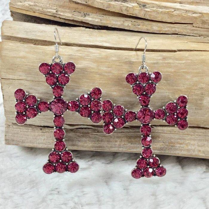 Pink Mission Crystal Cross Earrings