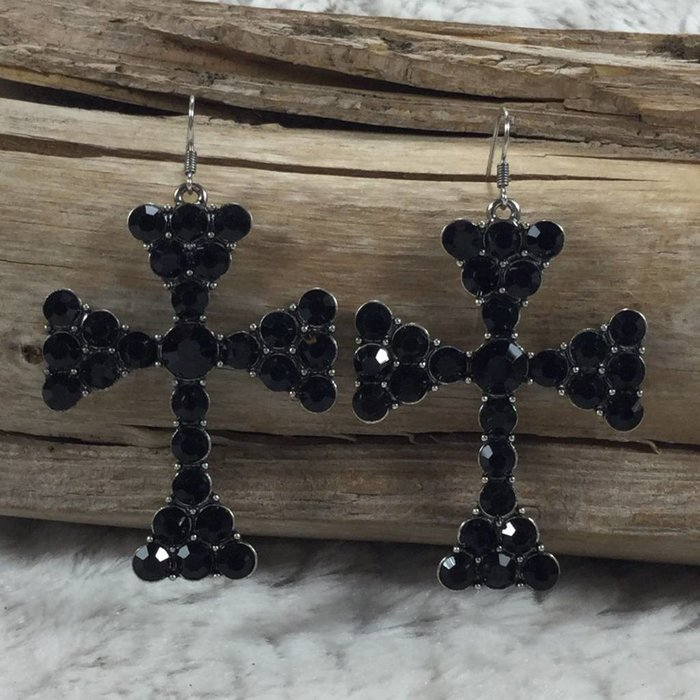 Black Mission Crystal Cross Earrings