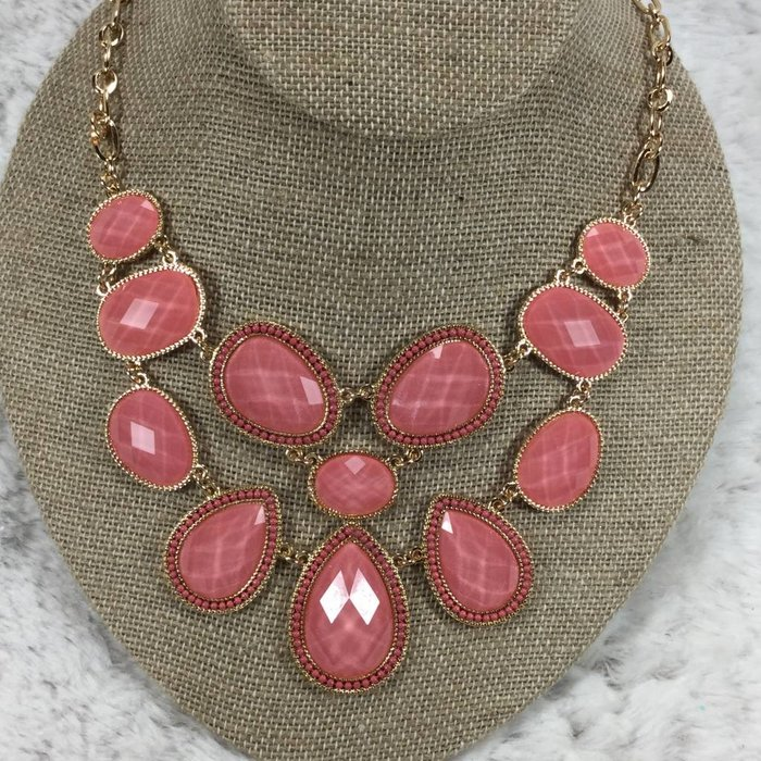 Coral Bib Necklace Set