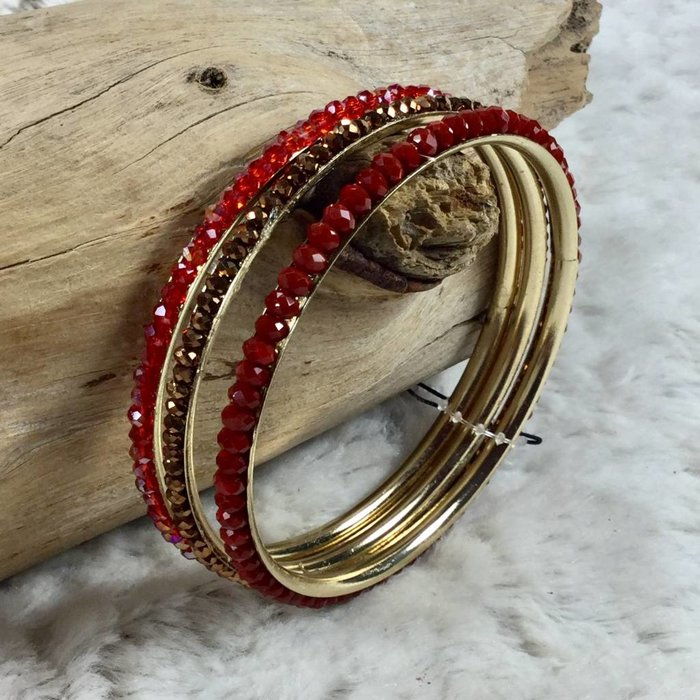 3-Red Crystal Bangle Set