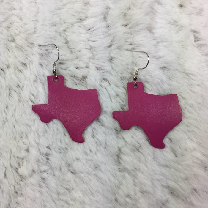 Leather Texas Earrings - Pink