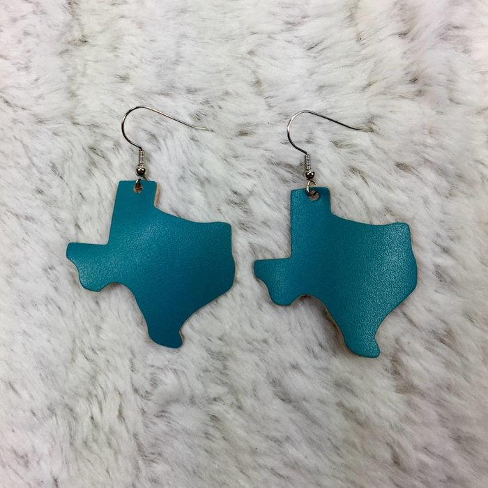 Leather Texas Earrings - Turquoise