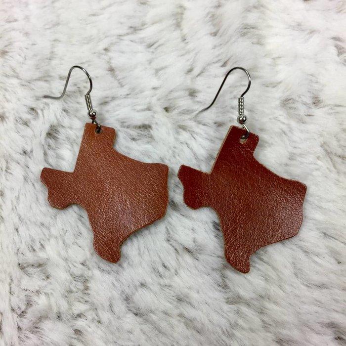 Leather Texas Earrings - Burnt Orange