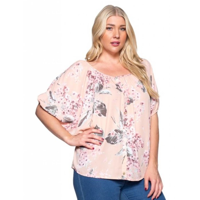 Floral Peach Button Up Top