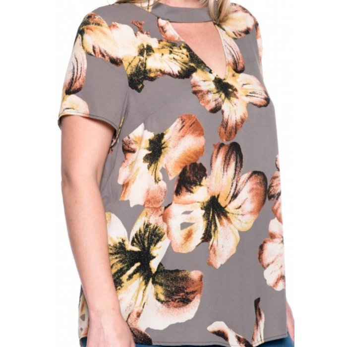 Grey Flower Keyhole Top - PLUS