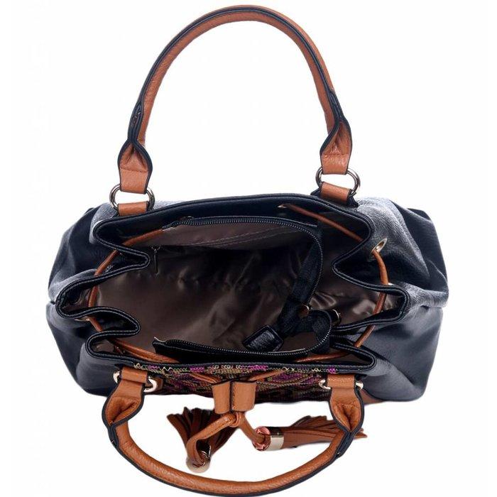 Black Needlepoint Satchel Handbag