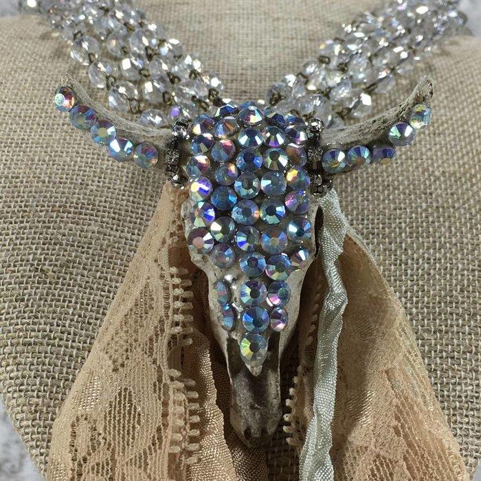 Crystal Skull Lace Tassel Handmade Necklace