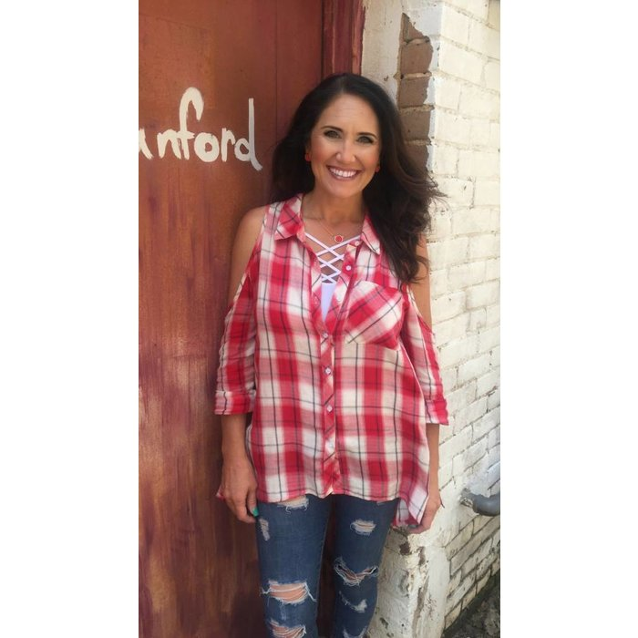 Red Plaid Paisley Back Cold Shoulder Top
