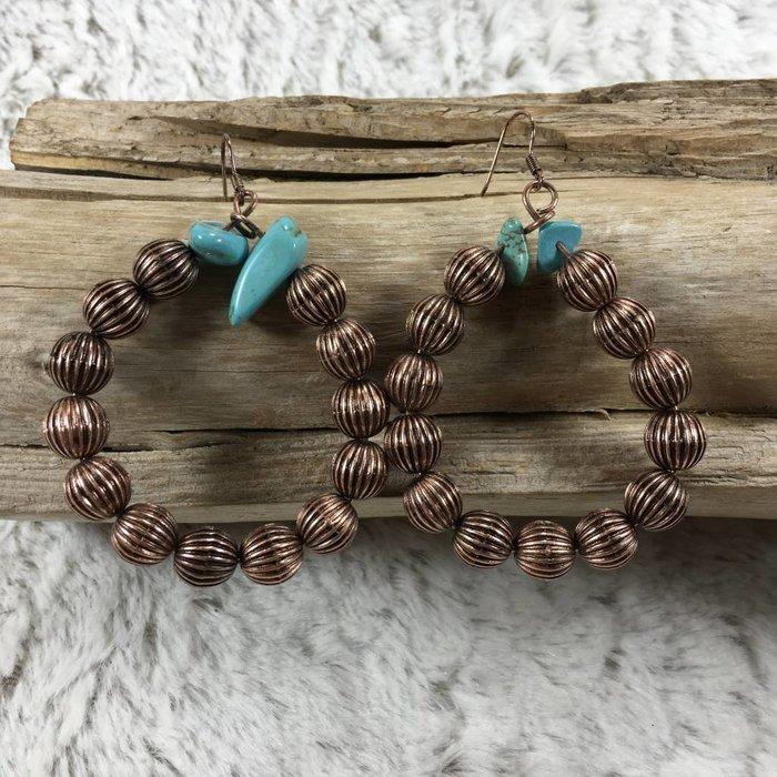Bronze Hoop w/Turq Stone Earrings