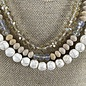 3-Strand Crystal Ivory Stone Necklace