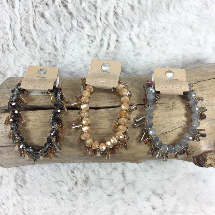 Crystal Tassel Beaded Stretch Bracelet