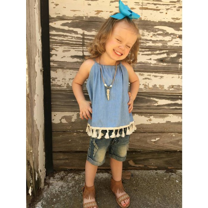 Chambray Tassel Sack Top