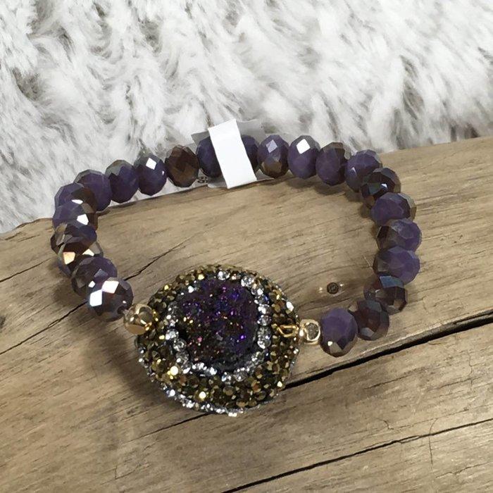 Purple Druzy Pave Bracelet