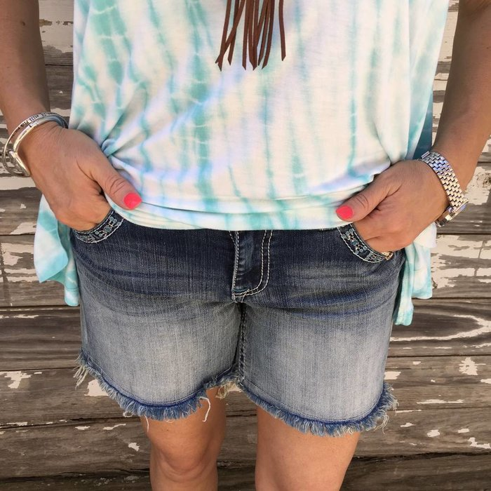 Easy Fit Denim Shorts - Turquoise Brace