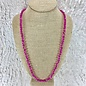 Fuchsia Crystal Knotted Necklace - Long