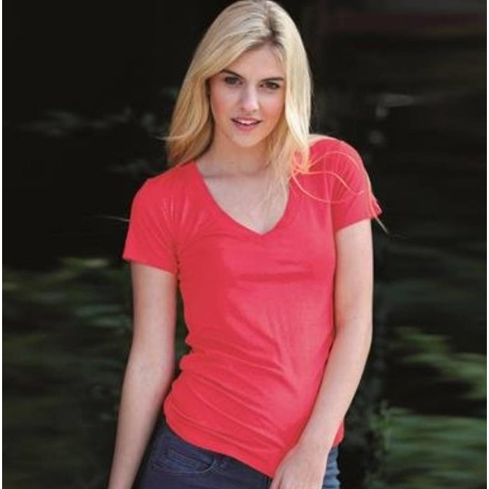 Coral - V-Neck Fitted Tee