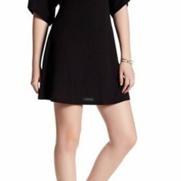 Black V-Neck Lace Up Back Dress