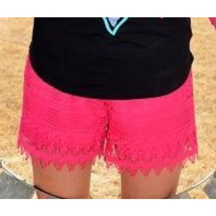 Crazy Train Hot Pink Lace Shorts