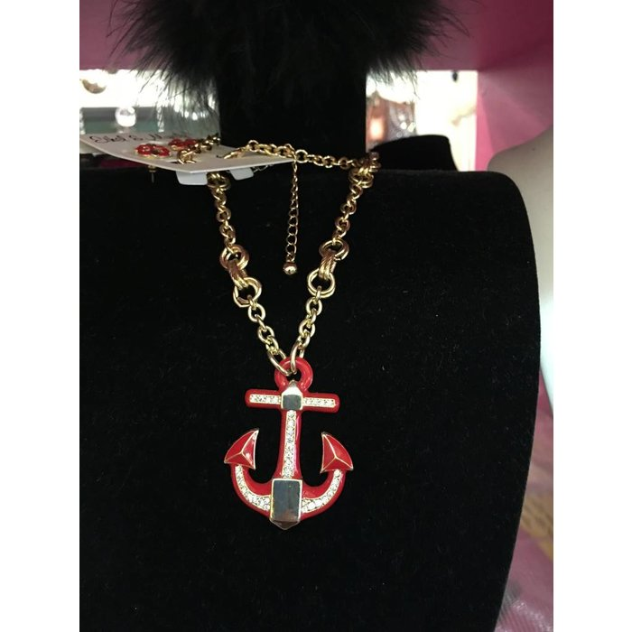 Red & Gold Anchor Necklace