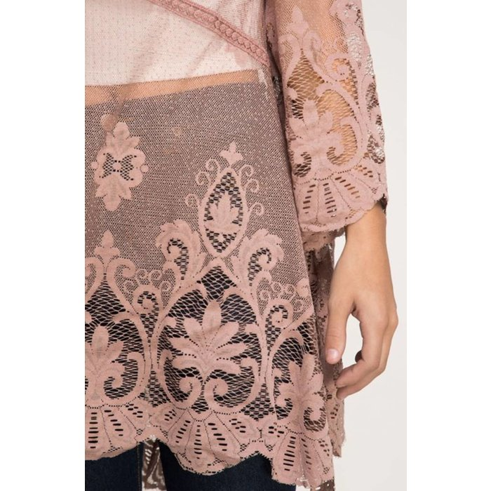 Mocha Lace Kimono Cardigan