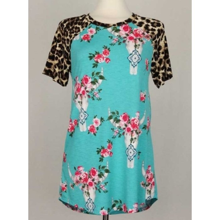 Turquoise Floral Skull Top with Leopard Sleeves
