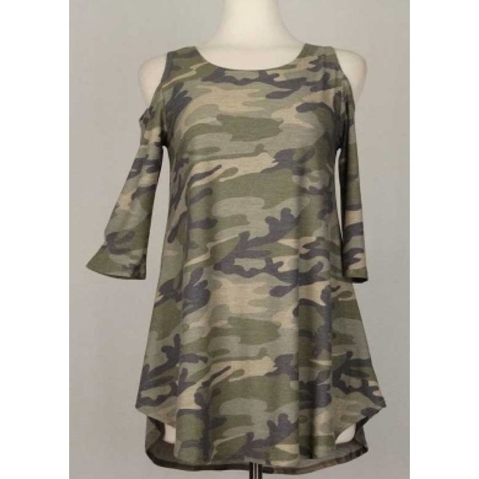Camo Cold Shoulder Tunic