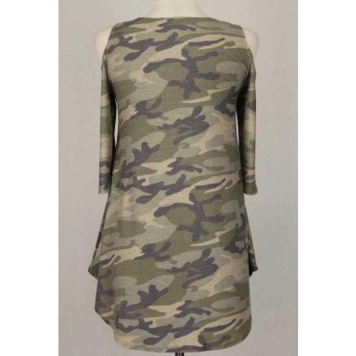 Camo Cold Shoulder Tunic
