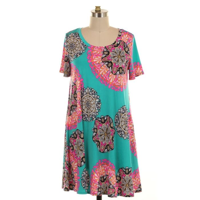Jade Floral Print Dress with Pockets