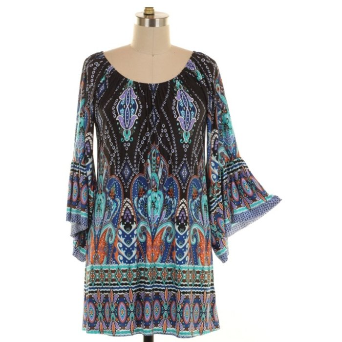Navy Baroque Border Print Tunic - PLUS