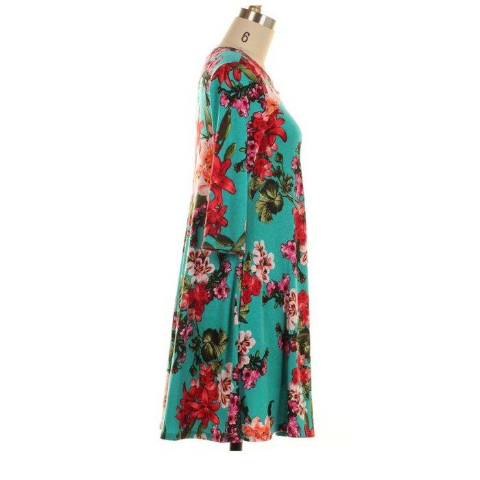 Chest Cutout Floral Print Dress