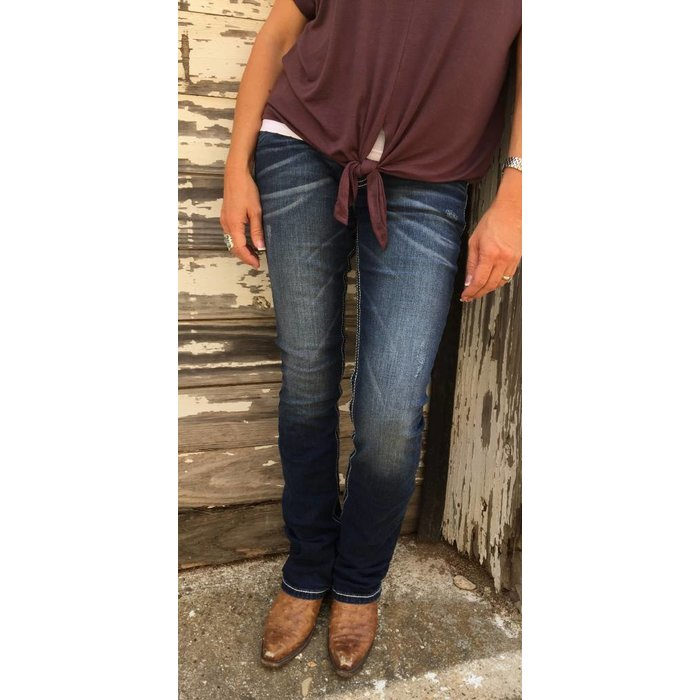 Slim Boot Floral Distressed Pocket