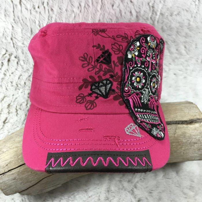 Sugar Skull Pink Cadet Cap