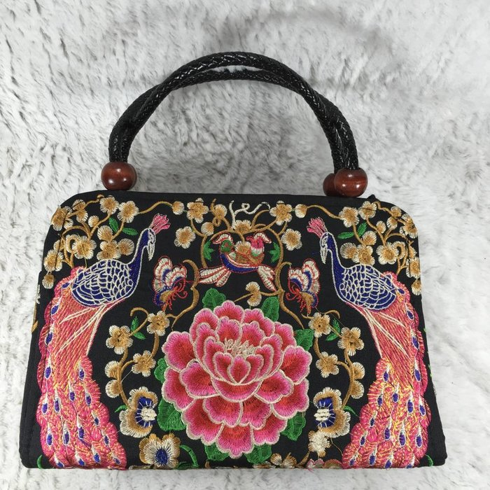 Rose Embroidered Bali Purse