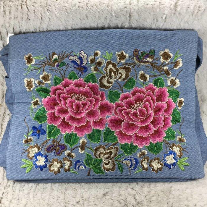 Denim Cross Body Embroidered Satchel Bag
