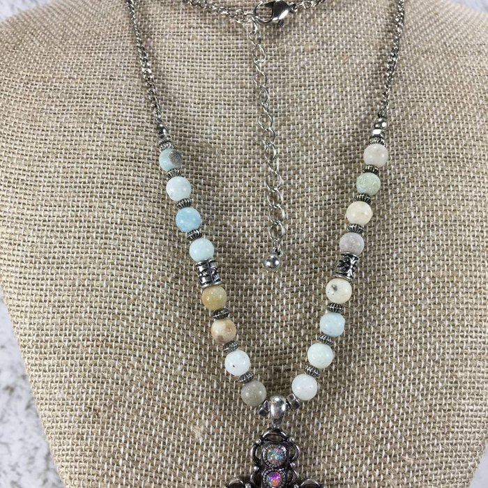 AB Long Silver Cross on Natural Stone Bead Necklace