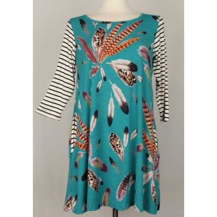 Feather Striped Dress with Pockets