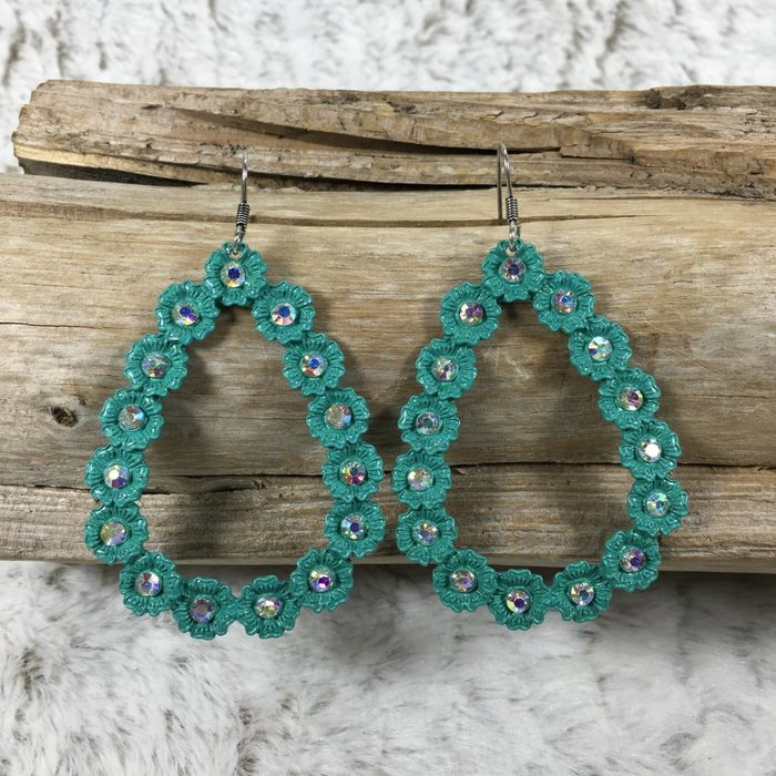 Turquoise AB Stone Teardrop Earrings