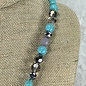 Long Turquoise & Silver Beaded Necklace with Tassel