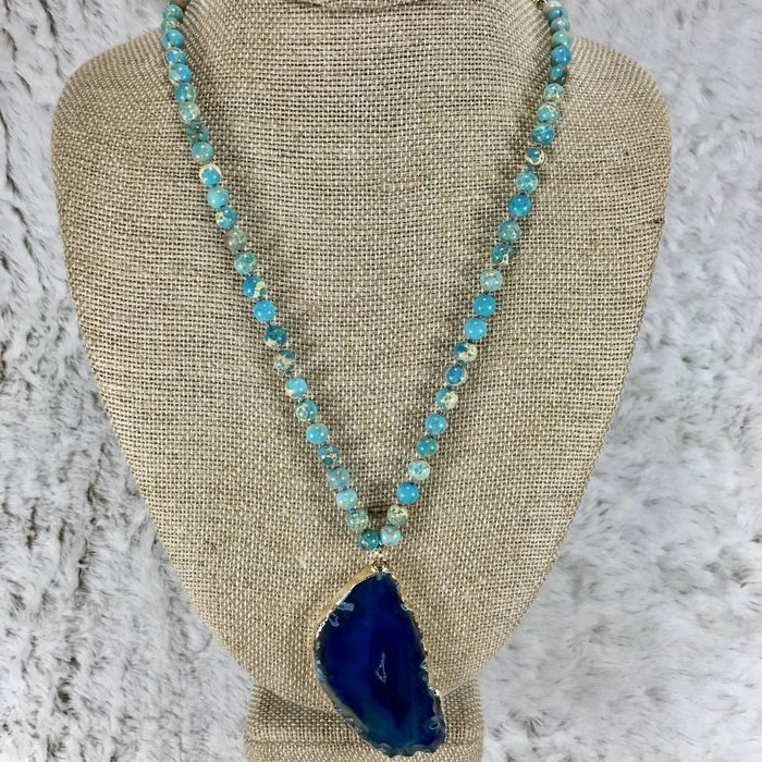 Blue Gem Stone Slab Necklace