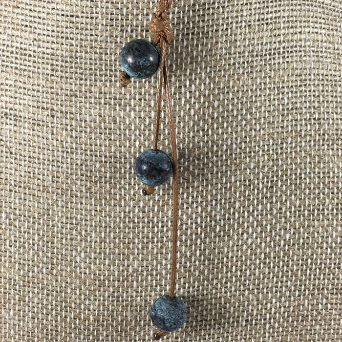 Knotted Patina Beads on Camel Leather Set