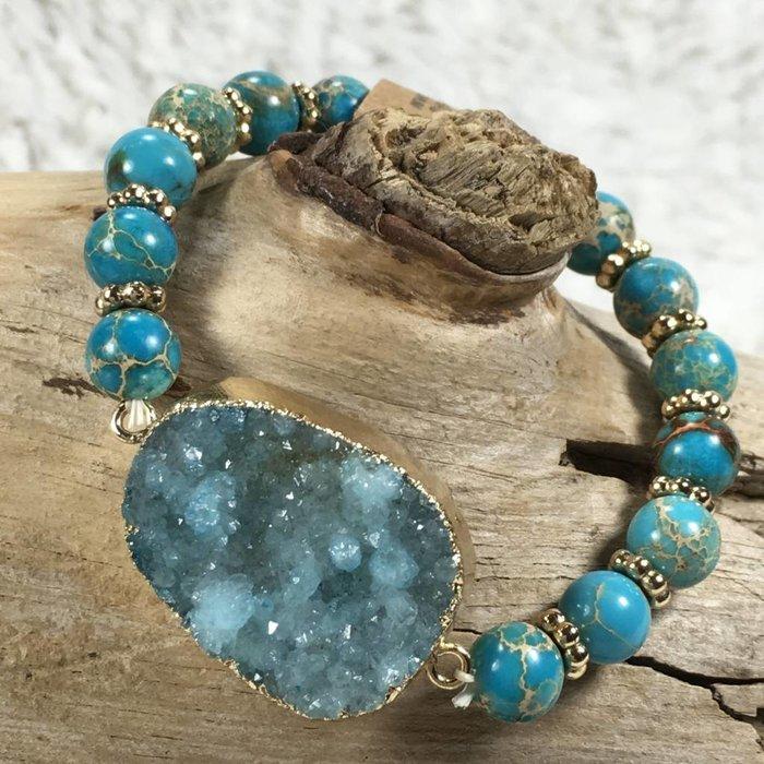 Turquoise Druzy Stone Stretch Bracelet