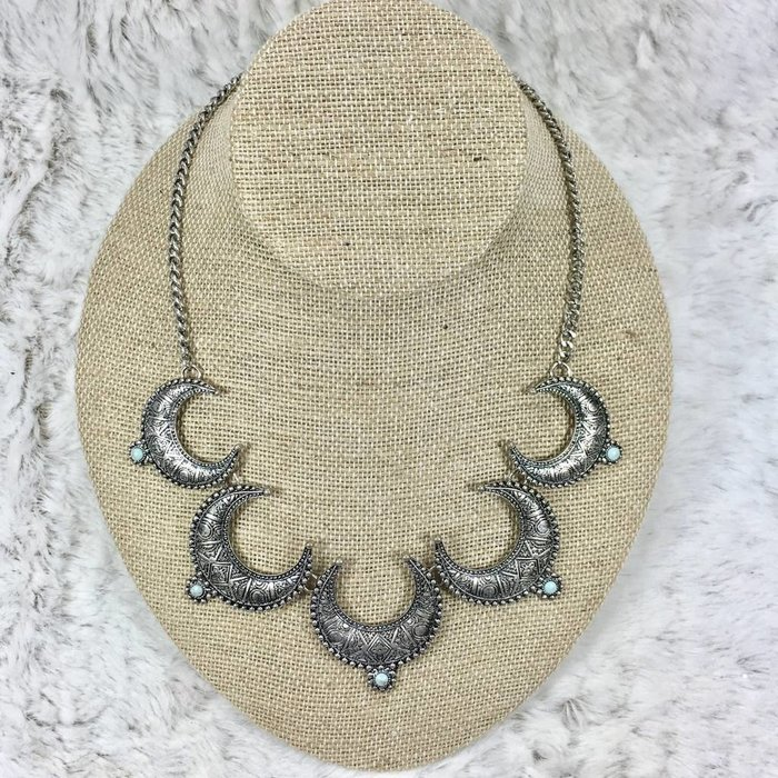 Bali Inspried Silver & Turq Stone Necklace Set