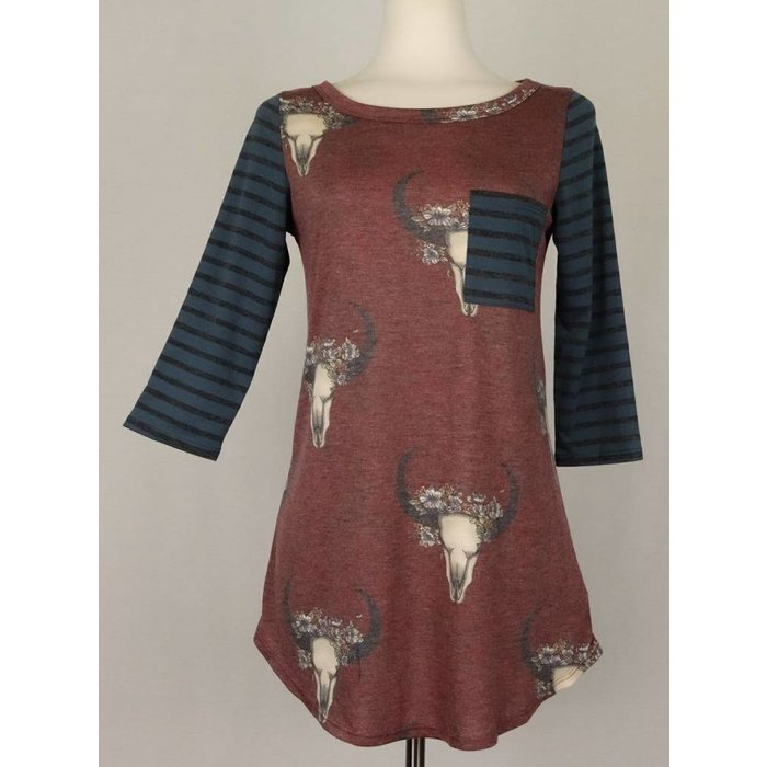 Burgundy Cowskull Top