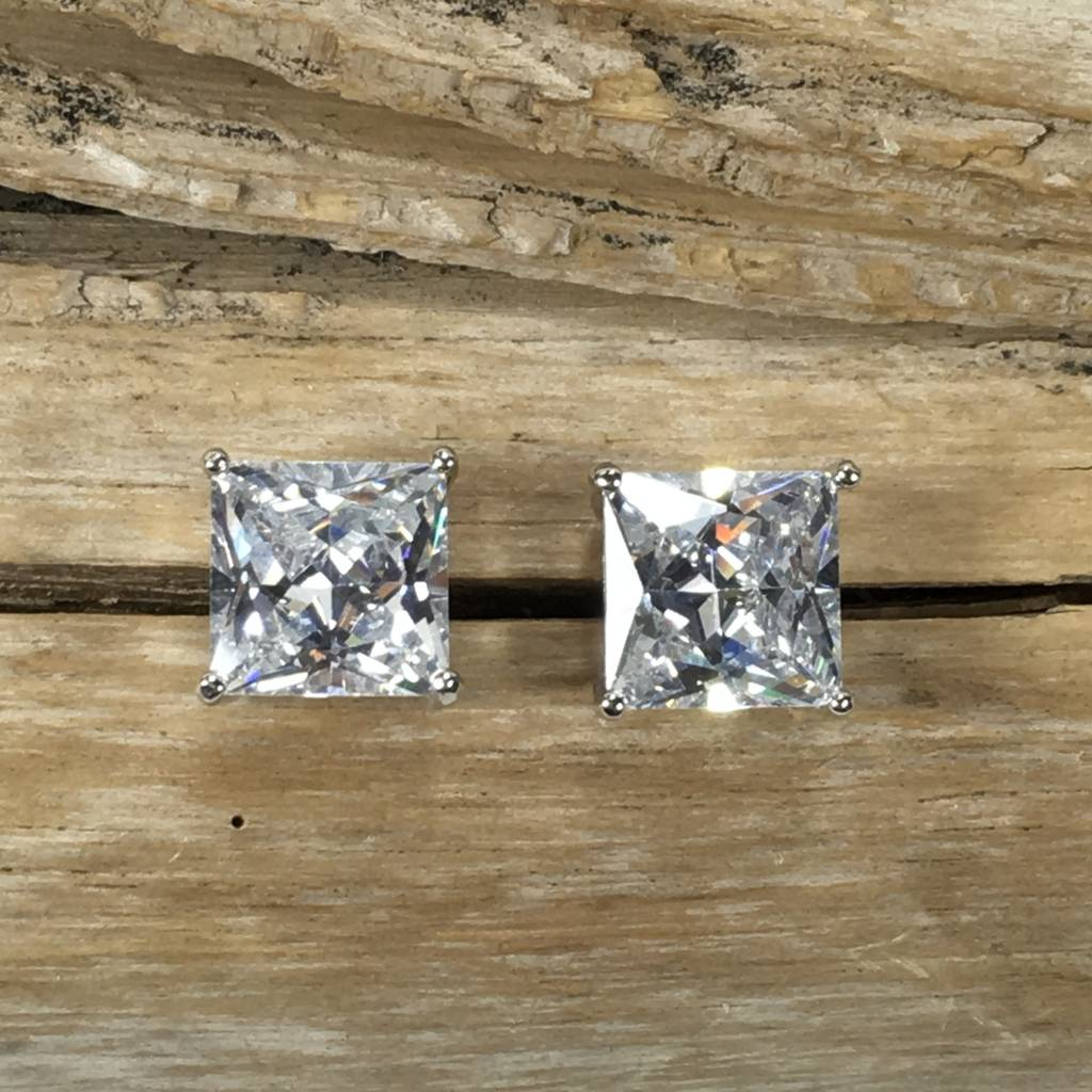 Large Square Cubic Zirconia Stud Earrings